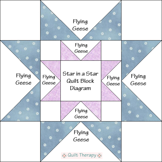 "Star in a Star Variation Quilt Block Diagram Free Pattern for 12"" finished quilt block at QuiltTherapy.com!"