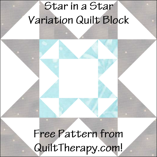 "Star in a Star Variation Quilt Block Free Pattern for a 12"" quilt block at QuiltTherapy.com!"