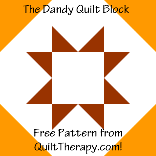 "The Dandy Quilt Block Free Pattern for a 12"" quilt block at QuiltTherapy.com!"