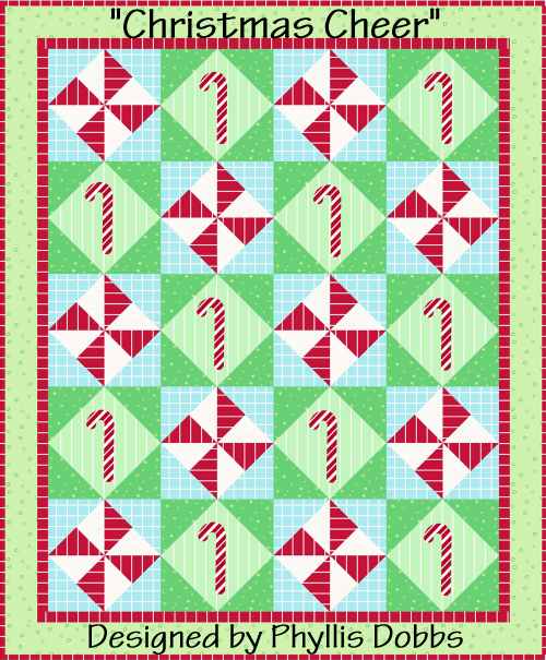 """Christmas Cheer"" Free Quilt Pattern to Quilt Dash members who complete the November Quilt Dash! Designed by Phyllis Dobbs."