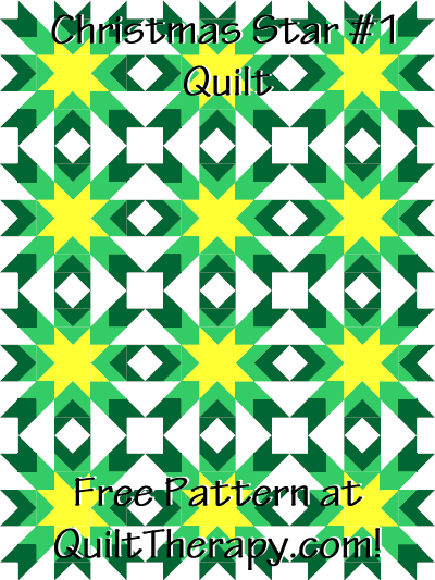 """Christmas Star #1 Quilt Free Pattern for a 36"""" x 48"""" quilt at QuiltTherapy.com!"""