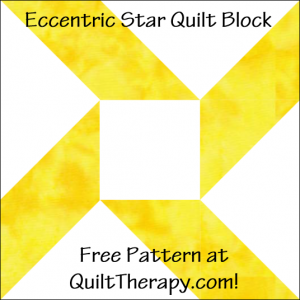 "Eccentric Star Quilt Block Free Pattern for a 12"" quilt block at QuiltTherapy.com!"