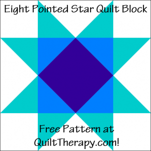 "Eight Pointed Star Quilt Block Free Pattern for a 12"" quilt block at QuiltTherapy.com!"