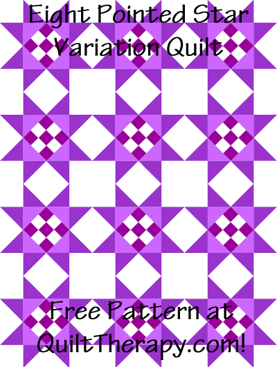 "Eight Pointed Star Variation Quilt Free Pattern for a 36"" x 48"" quilt at QuiltTherapy.com!"