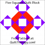 """Five Squares Quilt Block Free Pattern for a 12"""" quilt block at QuiltTherapy.com!"""