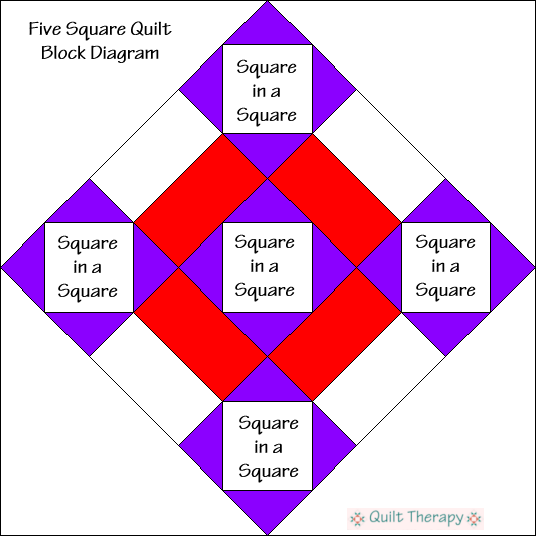 "Five Squares Block Diagram Free Pattern for 12"" finished quilt block at QuiltTherapy.com!"