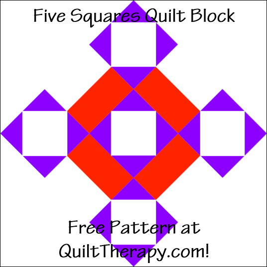 "Five Squares Quilt Block Free Pattern for a 12"" quilt block at QuiltTherapy.com!"