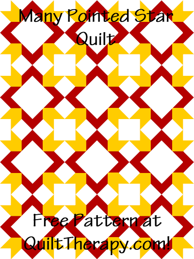 "Many Pointed Star Quilt Free Pattern for a 36"" x 48"" quilt at QuiltTherapy.com!"