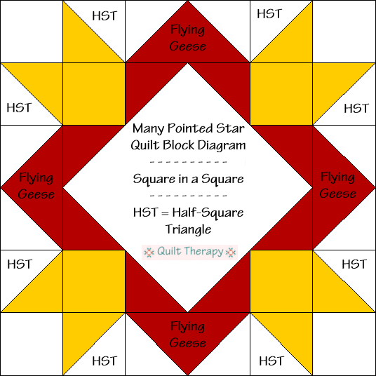 "Many Pointed Star Block Diagram Free Pattern for 12"" finished quilt block at QuiltTherapy.com!"