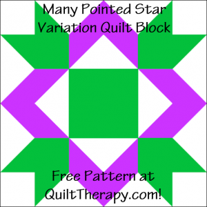 "Many Pointed Star Variation Quilt Block Free Pattern for a 12"" quilt block at QuiltTherapy.com!"
