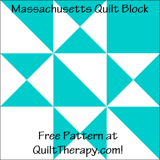 "Massachusetts Quilt Block Free Pattern for a 12"" quilt block at QuiltTherapy.com!"