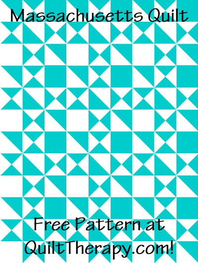 """Massachusetts Quilt Free Pattern for a 36"""" x 48"""" quilt at QuiltTherapy.com!"""