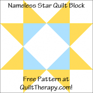 "Nameless Star Quilt Block Free Pattern for a 12"" quilt block at QuiltTherapy.com!"