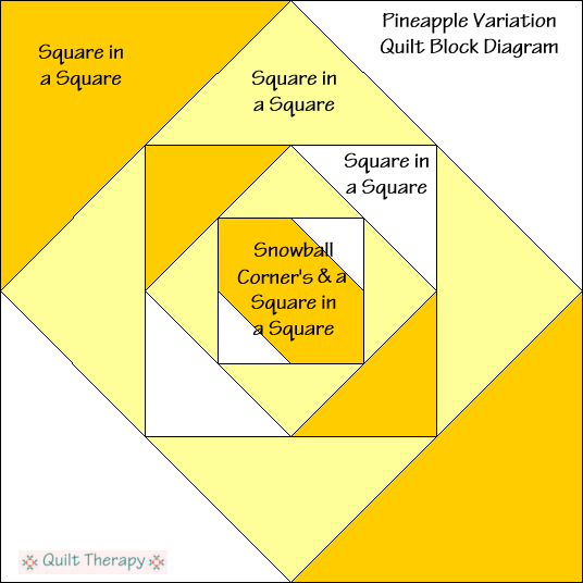 """Pineapple Variation Block Diagram Free Pattern for 12"""" finished quilt block at QuiltTherapy.com!"""