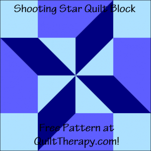 """Shooting Star Quilt Block Free Pattern for a 12"""" quilt block at QuiltTherapy.com!"""