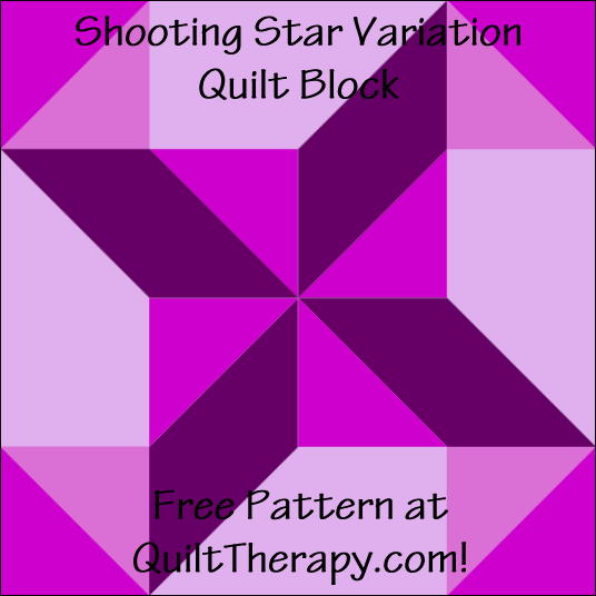 "Shooting Star Variation Quilt Block Free Pattern for a 12"" quilt block at QuiltTherapy.com!"