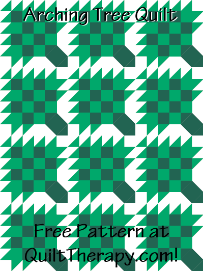 "Arching Tree Quilt Free Pattern for a 36"" x 48"" quilt at QuiltTherapy.com!"