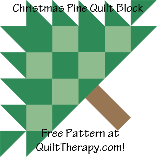 """Christmas Pine Quilt Block Free Pattern for a 12"""" quilt block at QuiltTherapy.com!"""