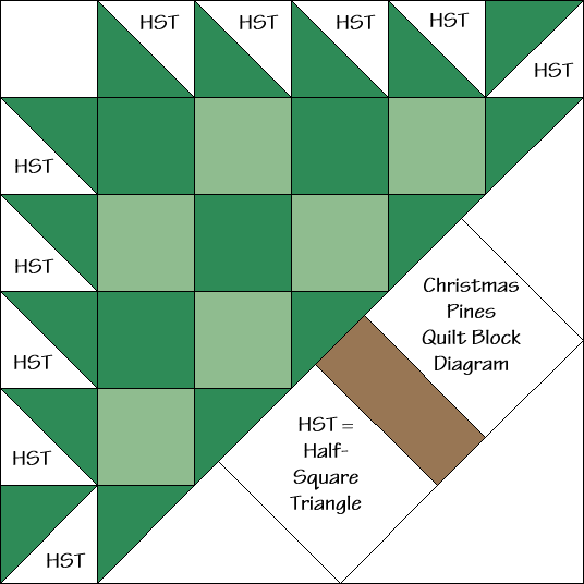 """Christmas Pines Block Diagram Free Pattern for 12"""" finished quilt block at QuiltTherapy.com!"""
