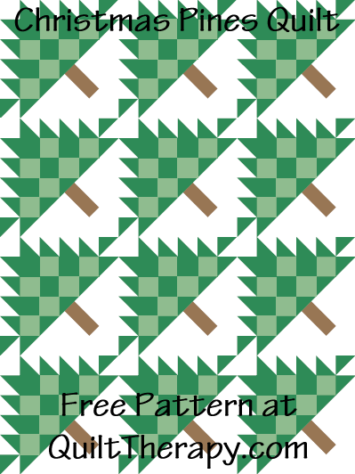 """Christmas Pines Quilt Free Pattern for a 36"""" x 48"""" quilt at QuiltTherapy.com!"""