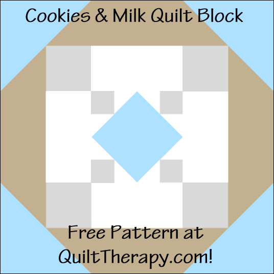 """Cookies & Milk Quilt Block Free Pattern for a 12"""" quilt block at QuiltTherapy.com!"""