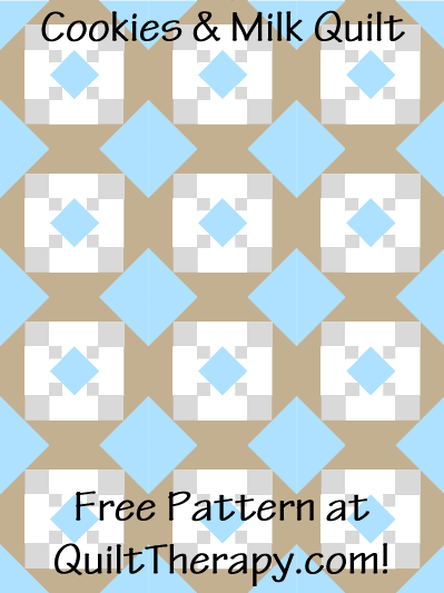 """Cookies & Milk Quilt Free Pattern for a 36"""" x 48"""" quilt at QuiltTherapy.com!"""