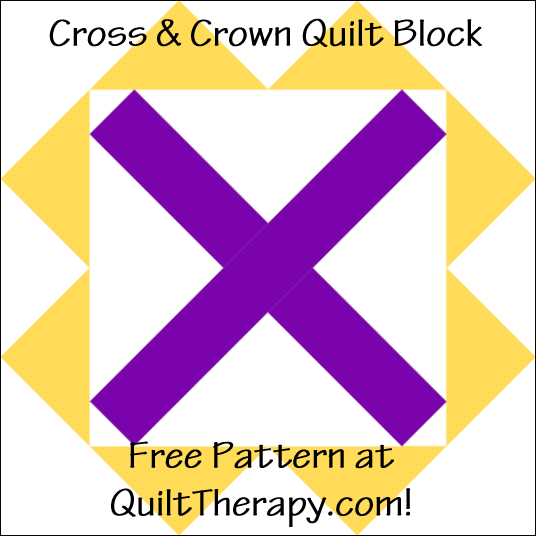 """Cross & Crown Quilt Block Free Pattern for a 12"""" quilt block at QuiltTherapy.com!"""