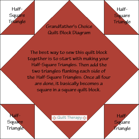 "Grandfather's Choice Block Diagram Free Pattern for 12"" finished quilt block at QuiltTherapy.com!"