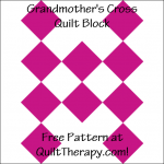 "Grandmother's Cross Quilt Block Free Pattern for a 12"" quilt block at QuiltTherapy.com!"