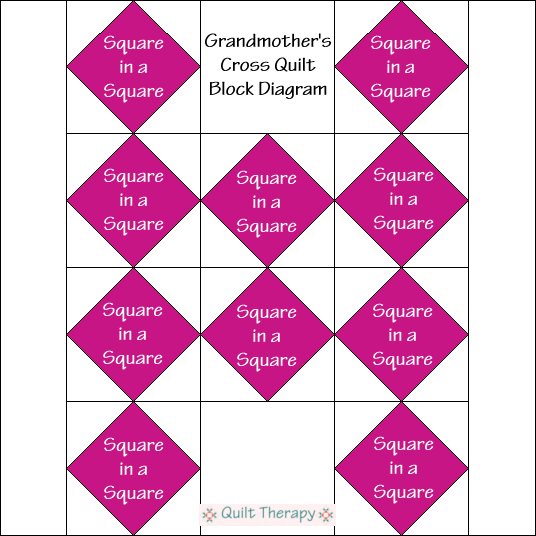 "Grandmother's Cross Quilt Block Diagram Free Pattern for 12"" finished quilt block at QuiltTherapy.com!"