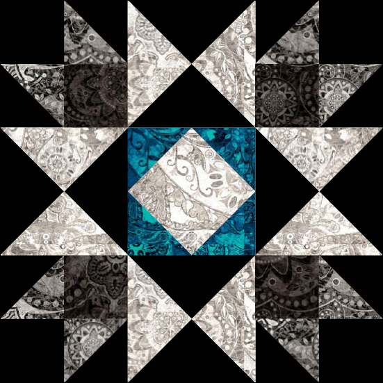 """Honeymoon Star"" a Free 12"" Quilt Block Pattern. Block #6 of BOMquilts.com's 2020 Block of the Month Quilt, ""Midnight Stargazer!"""