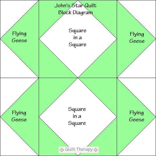 """John's Star Block Diagram Free Pattern for 12"""" finished quilt block at QuiltTherapy.com!"""