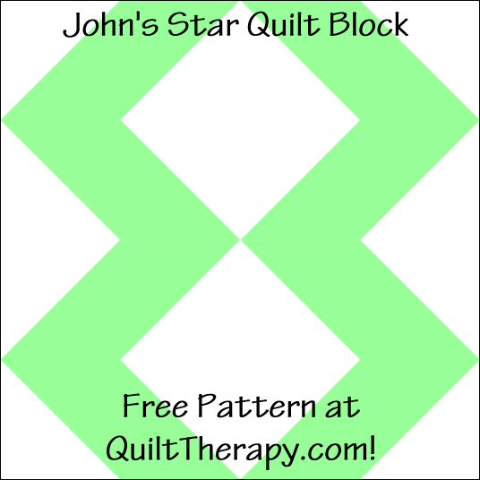 """John's Star Quilt Block Free Pattern for a 12"""" quilt block at QuiltTherapy.com!"""