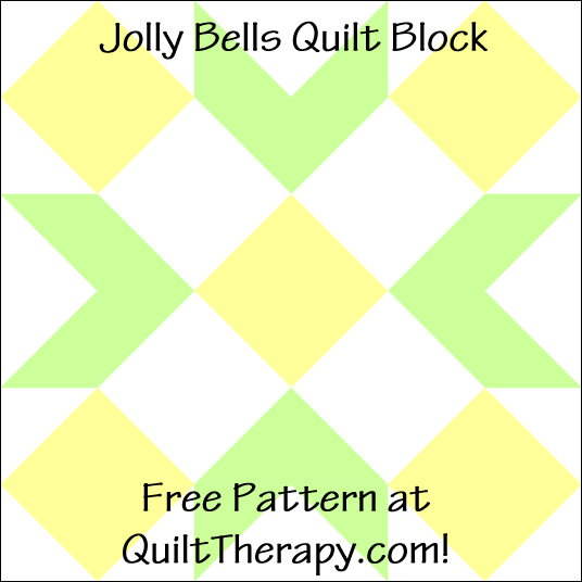 """Jolly Bells Quilt Block Free Pattern for a 12"""" quilt block at QuiltTherapy.com!"""