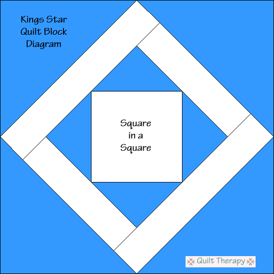 """King's Star Block Diagram Free Pattern for 12"""" finished quilt block at QuiltTherapy.com!"""