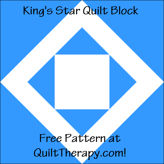 """King's Star Quilt Block Free Pattern for a 12"""" quilt block at QuiltTherapy.com!"""