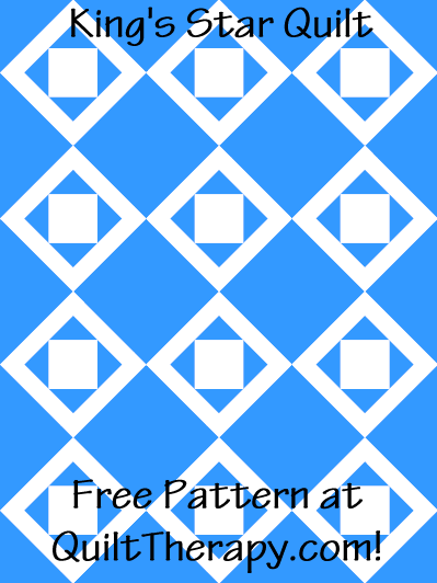 """King's Star Quilt Free Pattern for a 36"""" x 48"""" quilt at QuiltTherapy.com!"""