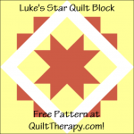 "Luke's Star Quilt Block Free Pattern for a 12"" quilt block at QuiltTherapy.com!"