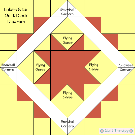 """Luke's Star Block Diagram Free Pattern for 12"""" finished quilt block at QuiltTherapy.com!"""