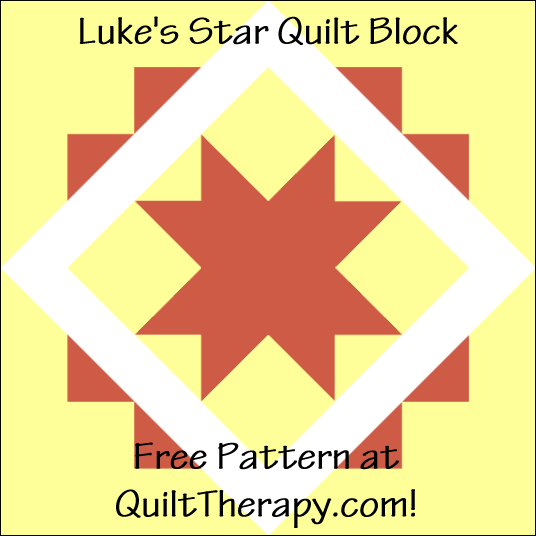 """Luke's Star Quilt Block Free Pattern for a 12"""" quilt block at QuiltTherapy.com!"""