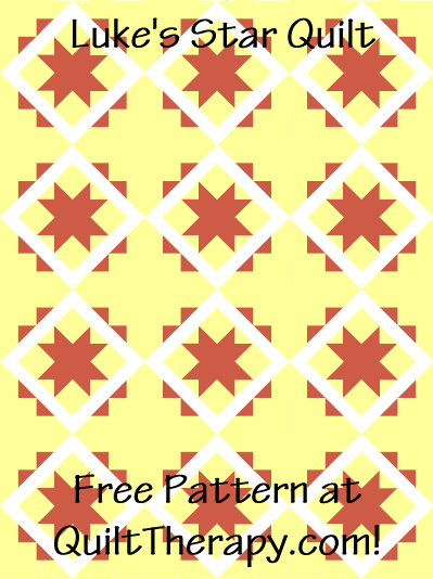 """Luke's Star Quilt Free Pattern for a 36"""" x 48"""" quilt at QuiltTherapy.com!"""