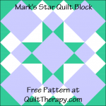 "Mark's Star Quilt Block Free Pattern for a 12"" quilt block at QuiltTherapy.com!"