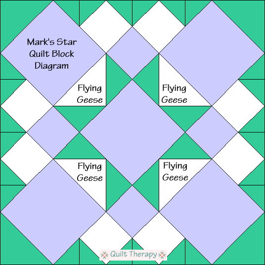 """Mark's Star Block Diagram Free Pattern for 12"""" finished quilt block at QuiltTherapy.com!"""