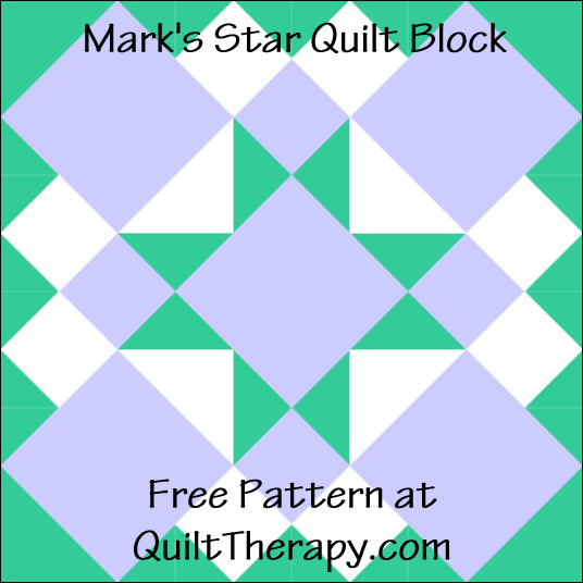 """Mark's Star Quilt Block Free Pattern for a 12"""" quilt block at QuiltTherapy.com!"""