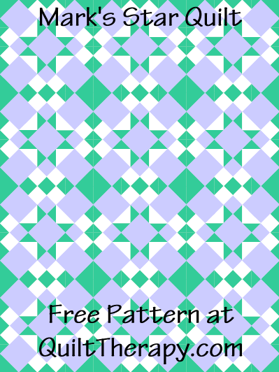 """Mark's Star Quilt Free Pattern for a 36"""" x 48"""" quilt at QuiltTherapy.com!"""