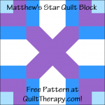 "Matthew's Star Quilt Block Free Pattern for a 12"" quilt block at QuiltTherapy.com!"