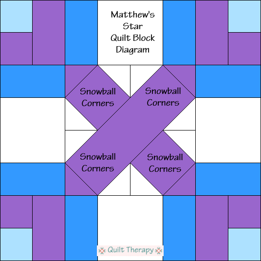 """Matthew's Star Block Diagram Free Pattern for 12"""" finished quilt block at QuiltTherapy.com!"""