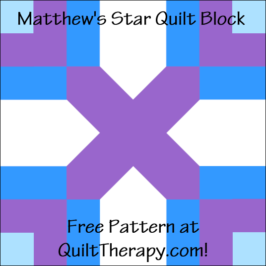"""Matthew's Star Quilt Block Free Pattern for a 12"""" quilt block at QuiltTherapy.com!"""