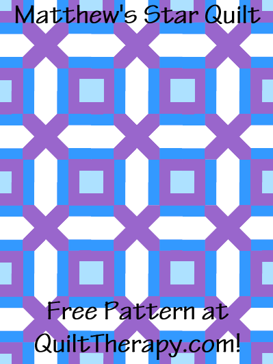 """Matthew's Star Quilt Free Pattern for a 36"""" x 48"""" quilt at QuiltTherapy.com!"""