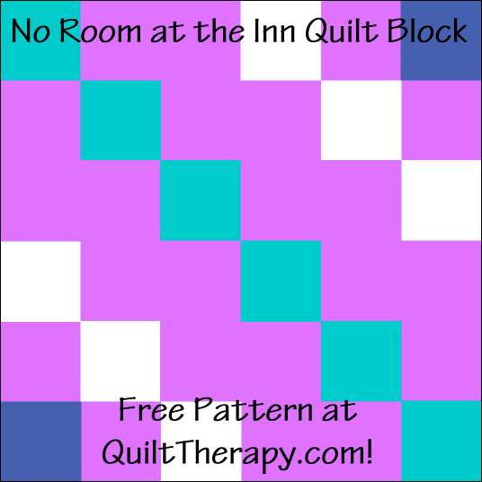 """No Room at the Inn Quilt Block Free Pattern for a 12"""" quilt block at QuiltTherapy.com!"""